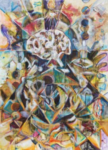 """""""Meditation #2"""" mixed media painting created in 2020. A depiction of the minds journey in balancing out external chaos and nurturing ones self with meditative practices."""