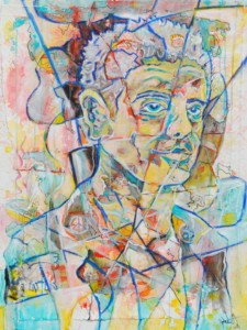 Mixed media painting of Anthony Bourdain. Created in 2018 as a memorial following his death.