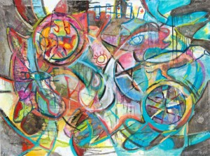 """""""Push and Pull"""" Mixed media painting created in 2019. Painting measures 30 in. X 40 in."""